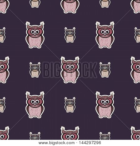 Purple and pink sticker-like owls seamless pattern. Nice and simple illustration
