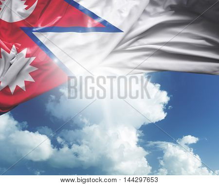 Nepal flag on a beautiful day