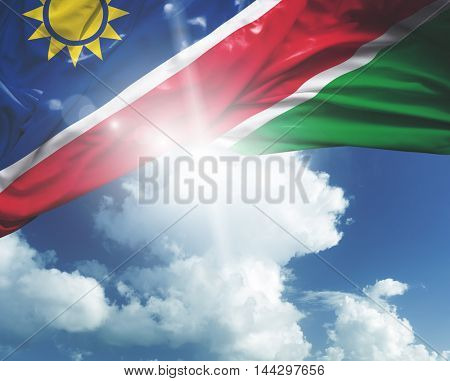 Namibia flag on a beautiful day