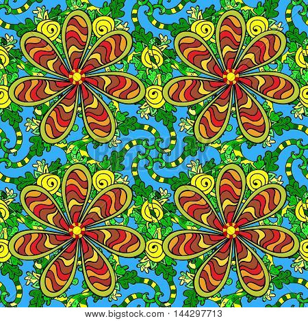 Oriental seamless pattern of colorful doodles flowers and mandalas. Vector blue background.