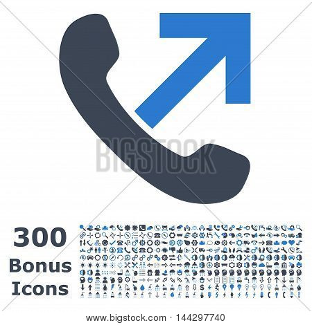Outgoing Call icon with 300 bonus icons. Vector illustration style is flat iconic bicolor symbols, smooth blue colors, white background.