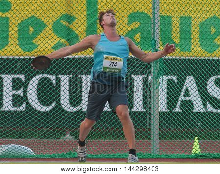 KAPFENBERG, AUSTRIA - AUGUST 8, 2015: Armin Beham (#274 Austria) participates in the national track and field championship.