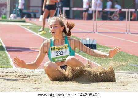 KAPFENBERG, AUSTRIA - AUGUST 9, 2015:  Alexandra Scheftner (#282 Austria) participates in the national track and field championship.