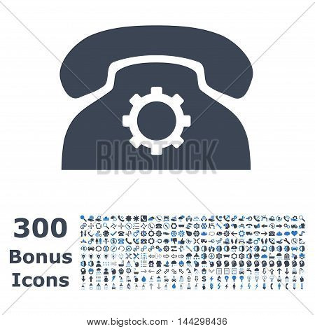 Phone Settings icon with 300 bonus icons. Vector illustration style is flat iconic bicolor symbols, smooth blue colors, white background.