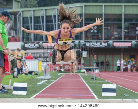KAPFENBERG, AUSTRIA - AUGUST 8, 2015: Lisa Felderer (#182 Austria) participates in the national track and field championship.