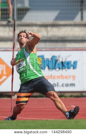 KAPFENBERG, AUSTRIA - AUGUST 9, 2015: Matthias Kaserer (#240 Austria) participates in the national track and field championship.