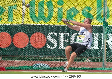 KAPFENBERG, AUSTRIA - AUGUST 8, 2015: Matthias Hayek (#26 Austria) participates in the national track and field championship.