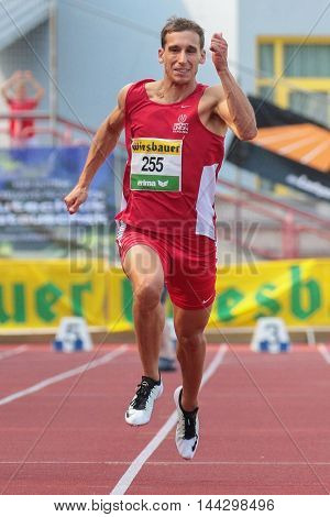 KAPFENBERG, AUSTRIA - AUGUST 8, 2015: Benjamin Grill (#255 Austria) participates in the national track and field championship.