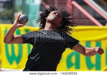 KAPFENBERG, AUSTRIA - AUGUST 9, 2015: Djeneba Toure (#18 Austria) participates in the national track and field championship.