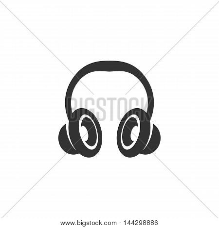 Vector Headphone icon isolated on a white background. Headphone logo in flat style. Simple icon as element for design. Vector symbol, sign, pictogram, illustration