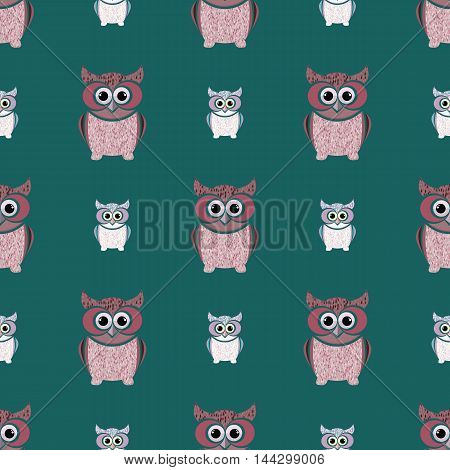 Green and pink owls set. Nice and simple illustration