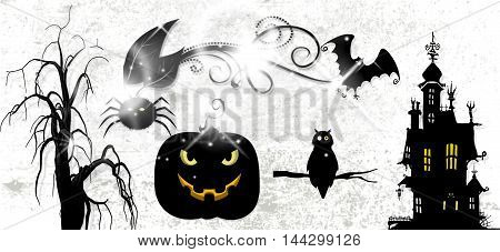 ticket halloween with castle amd black symbols
