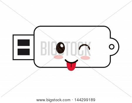 flat design kawaii usb drive icon vector illustration