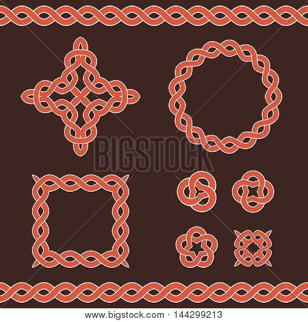 Set collection of celtic ornamental design elements. Vector illustration.