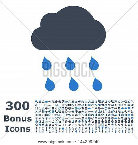 Rain Cloud icon with 300 bonus icons. Vector illustration style is flat iconic bicolor symbols, smooth blue colors, white background.