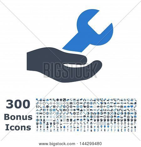 Repair Service icon with 300 bonus icons. Vector illustration style is flat iconic bicolor symbols, smooth blue colors, white background.