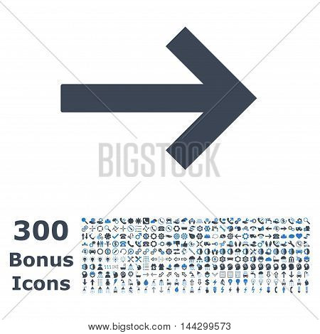 Right Arrow icon with 300 bonus icons. Vector illustration style is flat iconic bicolor symbols, smooth blue colors, white background.