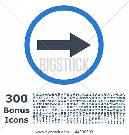 Right Rounded Arrow icon with 300 bonus icons. Vector illustration style is flat iconic bicolor symbols, smooth blue colors, white background.