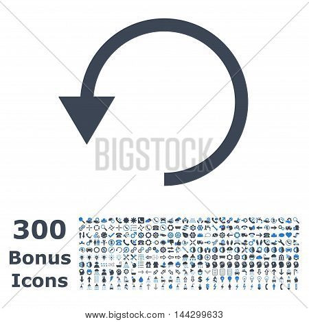 Rotate Ccw icon with 300 bonus icons. Vector illustration style is flat iconic bicolor symbols, smooth blue colors, white background.