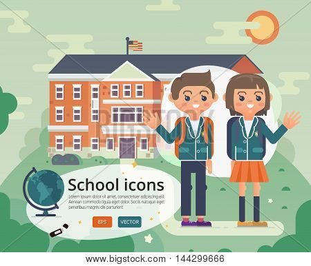 Vector education illustration of primary or private school facade on sun landscape.