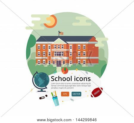 School facade on sun landscape backdrop with school teenage objects. Back to school background.