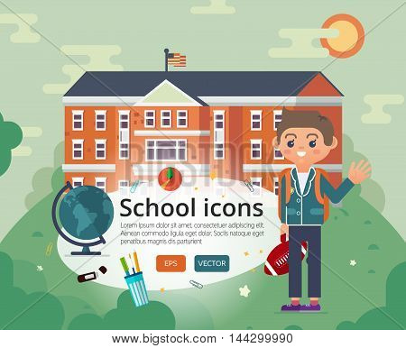 Education illustration of primary or private school facade on sun landscape backdrop