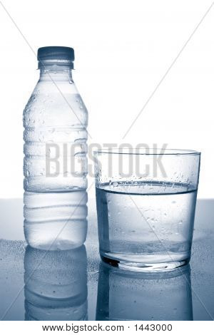 Bottle And Glass Of Mineral Water With Droplets