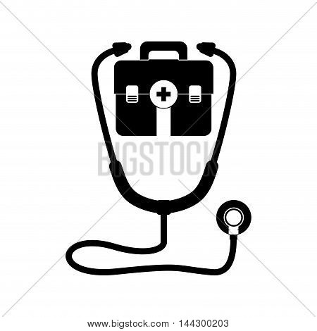 stethoscope medical kit health care hospital silhouette icon. Flat and Isolated design. Vector illustration