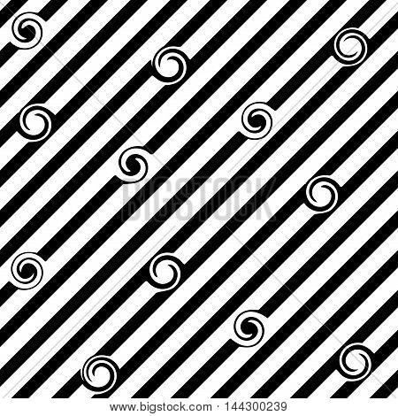 Striped diagonal and spiral seamless pattern. Fashion graphic background design. Modern stylish abstract texture. Monochrome template for prints textiles wrapping wallpaper website. VECTOR illustration