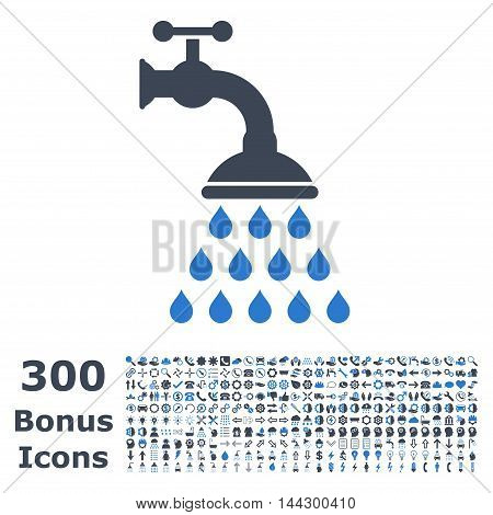 Shower Tap icon with 300 bonus icons. Vector illustration style is flat iconic bicolor symbols, smooth blue colors, white background.