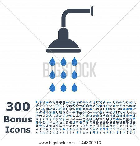Shower icon with 300 bonus icons. Vector illustration style is flat iconic bicolor symbols, smooth blue colors, white background.