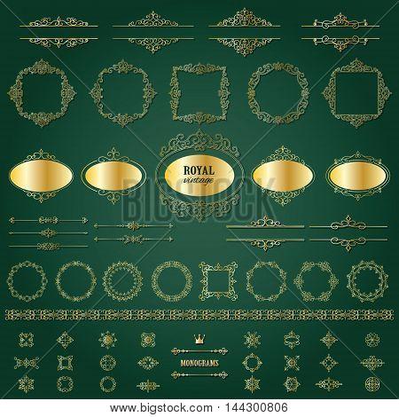 Vintage golden frames, dividers mega set. Calligraphic design elements.