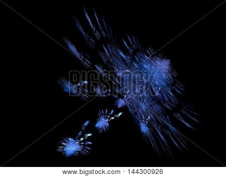 Flying fractal abstraction in cool tones on a black background. Object consisting of many similar.