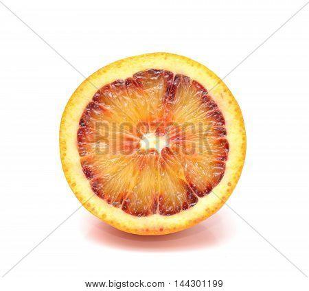 Sicilian red blood orange isolated on white background