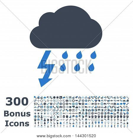 Thunderstorm icon with 300 bonus icons. Vector illustration style is flat iconic bicolor symbols, smooth blue colors, white background.