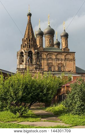 Orthodox Church against a beautiful sky with clouds, Russia, Moscow. Stock photo
