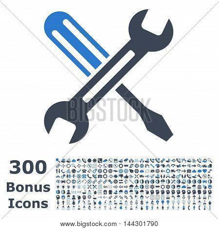 Tuning icon with 300 bonus icons. Vector illustration style is flat iconic bicolor symbols, smooth blue colors, white background.