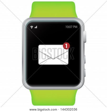 Green Smart Watch Vector Illustration with white background.