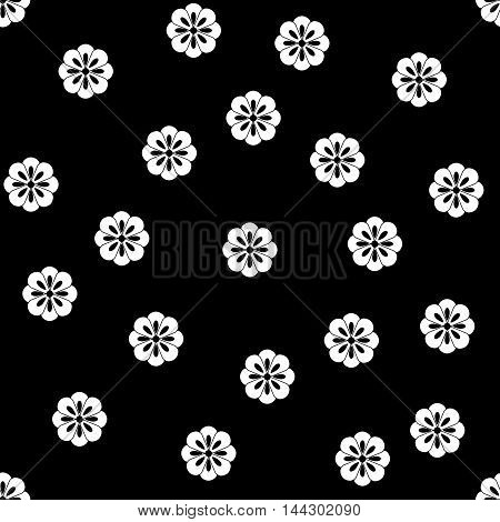 White flower seamless pattern. Fashion graphic background design. Abstract texture. Monochrome template for prints textiles wrapping wallpaper website etc. VECTOR illustration