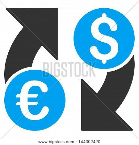 Currency Change icon. Vector style is bicolor flat iconic symbol, blue and gray colors, white background.