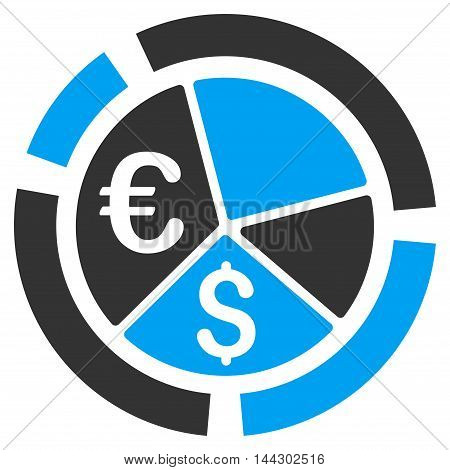 Currency Diagram icon. Vector style is bicolor flat iconic symbol, blue and gray colors, white background.