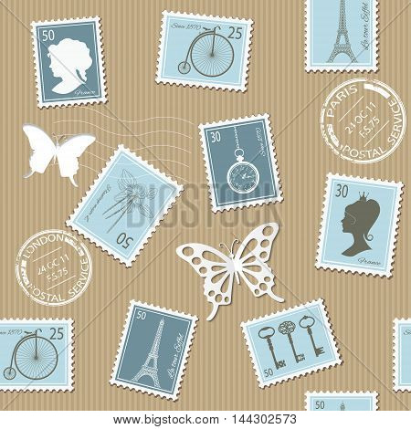 Vintage postal seamless pattern background with different retro stamps.