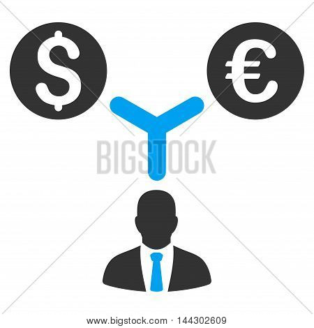Currency Manager icon. Vector style is bicolor flat iconic symbol, blue and gray colors, white background.