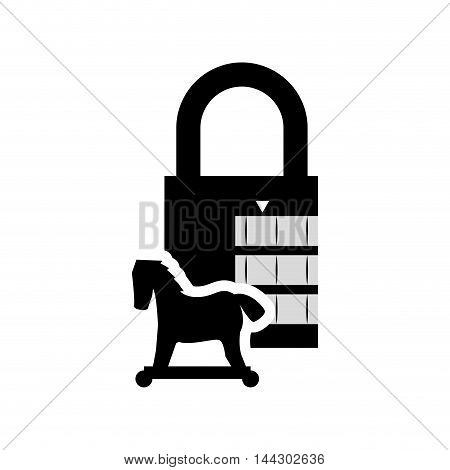 horse padlock cyber security system protection silhouette icon. Flat and Isolated design. Vector illustration