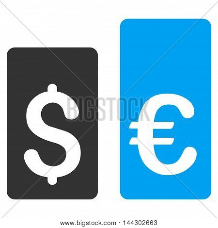 Currency Rate Bars icon. Vector style is bicolor flat iconic symbol, blue and gray colors, white background.