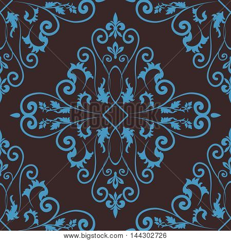 Floral damask seamless pattern background in brown and blue colors. Vector illustration.