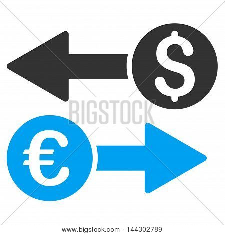 Currency Transfers icon. Vector style is bicolor flat iconic symbol, blue and gray colors, white background.