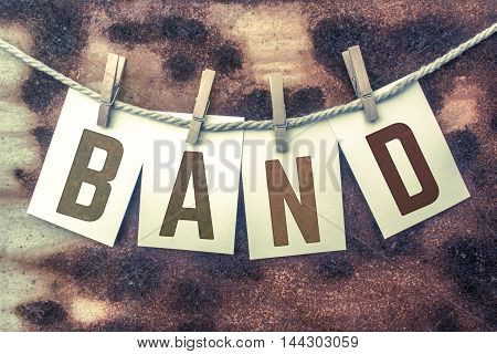 Band Concept Pinned Stamped Cards On Twine Theme