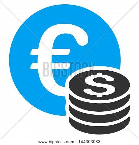 Euro and Dollar Coins icon. Vector style is bicolor flat iconic symbol, blue and gray colors, white background.