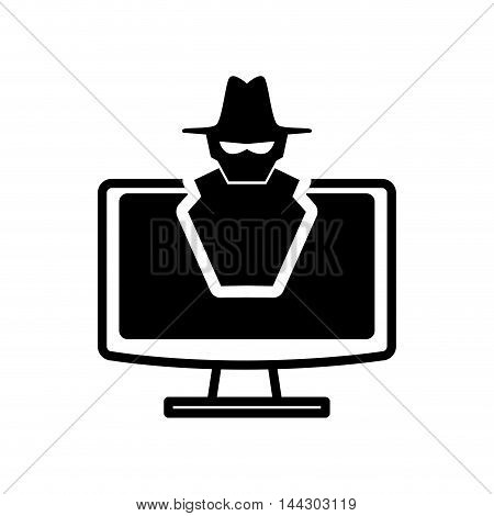 computer thief hacker cyber security system protection silhouette icon. Flat and Isolated design. Vector illustration